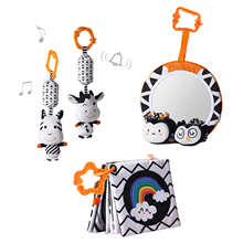1Set High Contrast Shapes Set Baby Toys Black White Stroller Hanging Toy Pleasant Wind Bell Soothing Newborn Emotion Charmingly