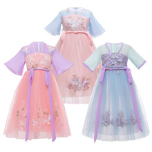 Fashion Girls Dresses Children Embroidery Flowers Ball Gown Dress Teen Girl Princess Cosplay Costumes Birthday Party