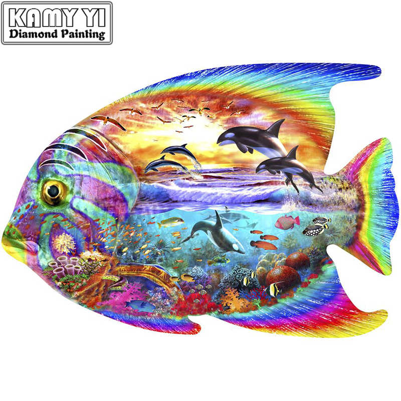 Mới 2020 5D DIY Kim Cương Tranh Thêu Cá Nhiều Màu Phong Cảnh Đeo Chéo Full Vuông Đá Khảm Trang Trí