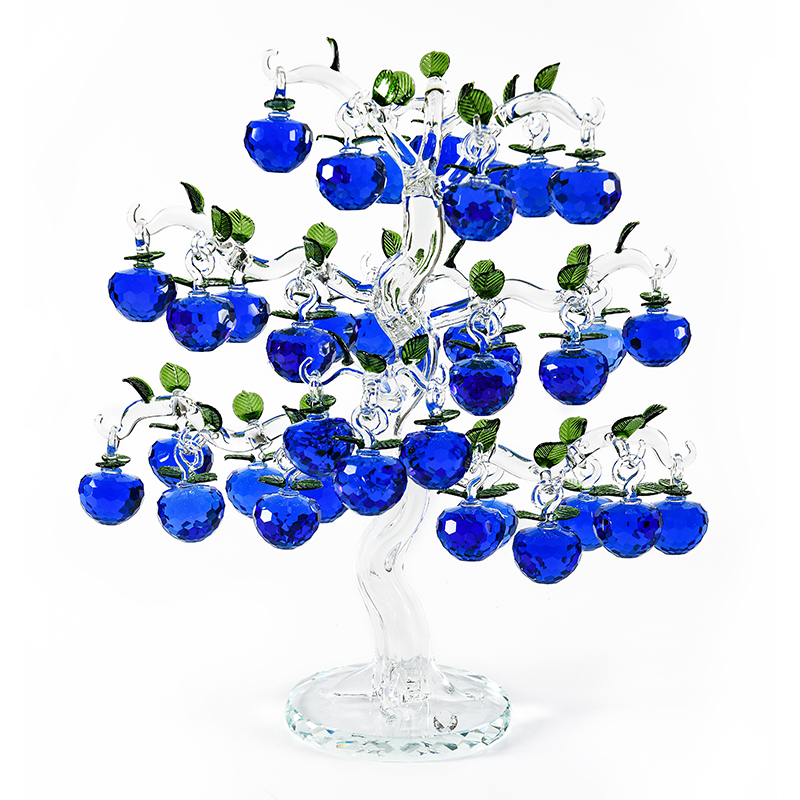 Beautiful Glass Crystal Apple Tree with 36 18 12 pcs Apples Fengshui Crafts Chirstmas Tree Hanging Ornaments Housewarming Gifts