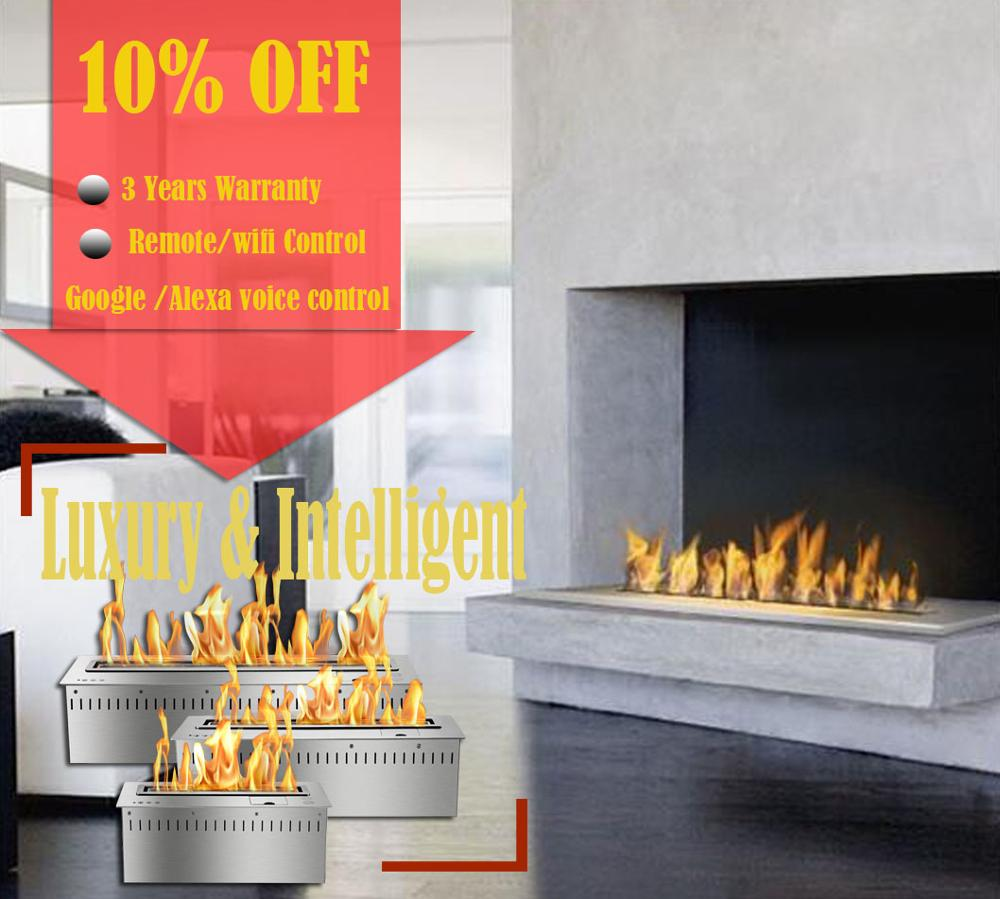 Inno-living Fire 18 Inch Silver Or Black Wifi Real Fire Intelligent Indoor Auto Fireplace Bio Ethanol