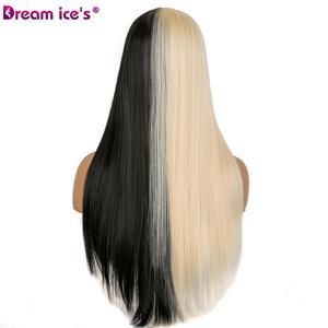 Image 3 - 合成半分黒半分白 21 インチロングヘア女性コスプレイベント夢氷の