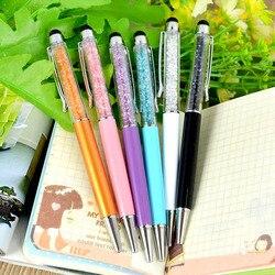 1 pçs 2 em 1 caneta de cristal strass stylus caneta de toque diamante caneta esferográfica estudantes escritório artigos de papelaria material escolar