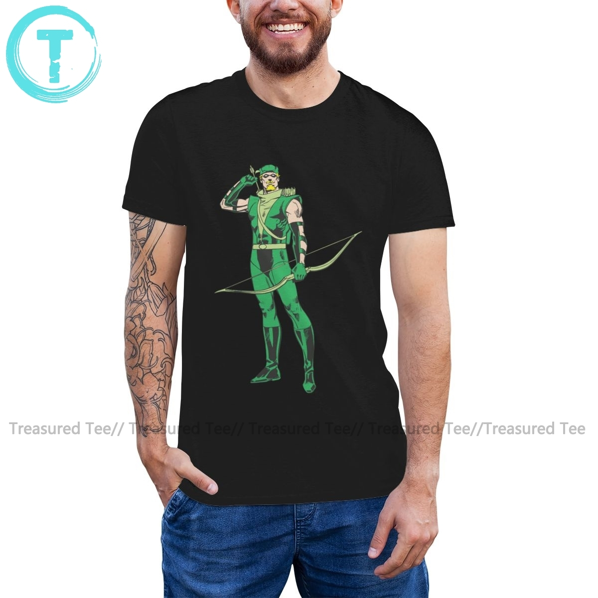 Green Arrow T Shirt Green Arrow With Target T-Shirt Printed Short Sleeve Tee Shirt Mens Cotton Funny Tshirt