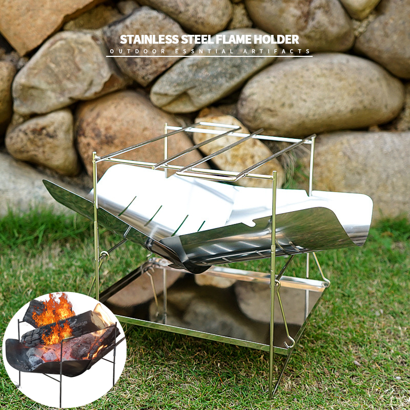 Ultralight Outdoor Portable Wood Stove Burner Multifunctional Folding Barbecue Charcoal Stove