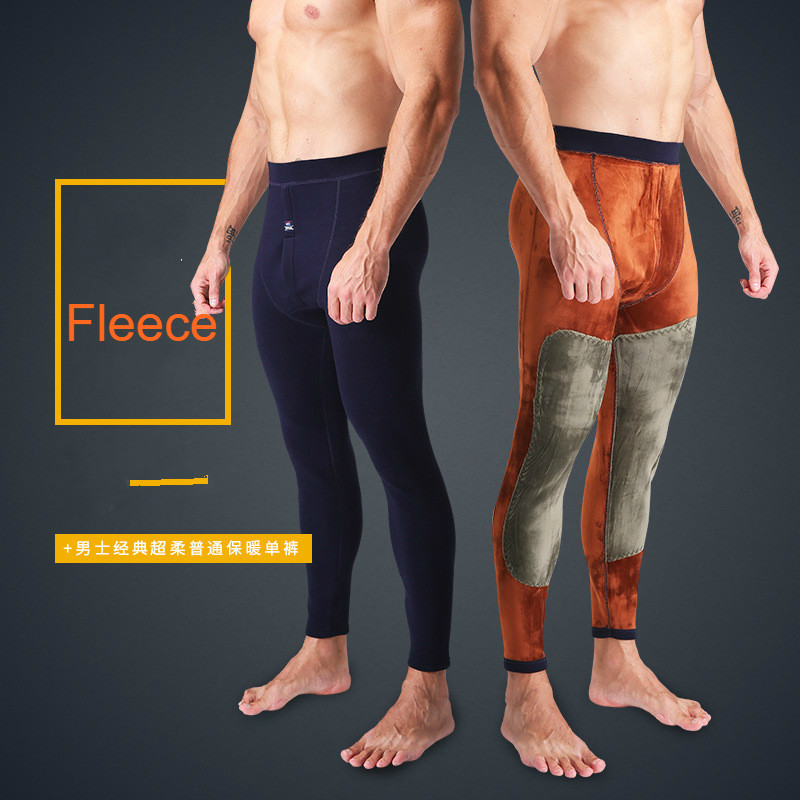 Autumn Winter Thermal Underwear Pants Fleece Leggings Men's Velvet Thickening Knee Pads Slim Warm Mens Bottom Thermos Trousers