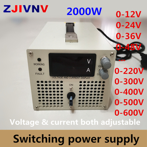 2000w Switching Power Supply 0-12V 24v 36v 48V 60V 70V 80V 90V 110V 220V 300V 400v 600v Adjustable Voltage&current Power Supply(China)
