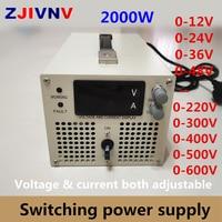 2000w Switching Power Supply 0 12V 24v 36v 48V 60V 70V 80V 90V 110V 220V 300V 400v 600v Adjustable Voltage&current Power Supply
