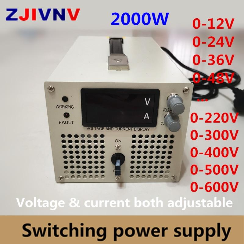 2000w alimentation à découpage 0-12V 24v 36v 48V 60V 70V 80V 90V 110V 220V 300V 400v 600v V alimentation à tension et courant réglable