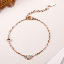 Ailodo Romantic Crystal Heart Charm Bracelets For Women Rose Gold Color Titanium Steel Fashion Jewelry Gift LD372