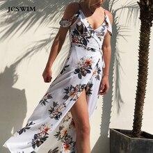 JCSWIM Sexy V Neck Beach Dress Women Long Tunic Off Shoulder Backless Swimwear Dress Summer Bikini Bather suit Cover Up Swimsuit аксессуар для моек karcher трубка струйная 360° vp 160 s регулировка давления для k5 k7
