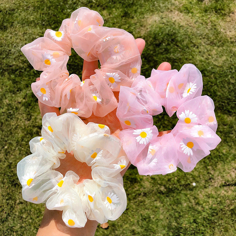 2020 New Daisy Flower Women Girls Elastic Hair Rubber Bands Accessories  Scrunchies Headwear Hair Tie Ring Rope Holder Headdress