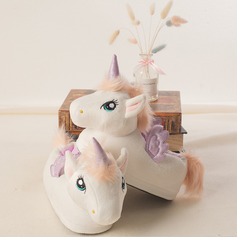 Suihyung Kids Cartoon Plush Slippers New Winter Warm Non-slip Home Cotton Shoes Cute Unicorn Slippers Boys Girls Indoor Slippers