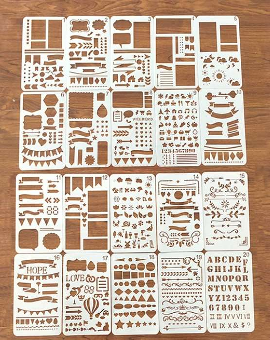20pcs Stationery Hollow Multi-function Ruler Creative Doodle Diary Drawing Hand Account Painting Template