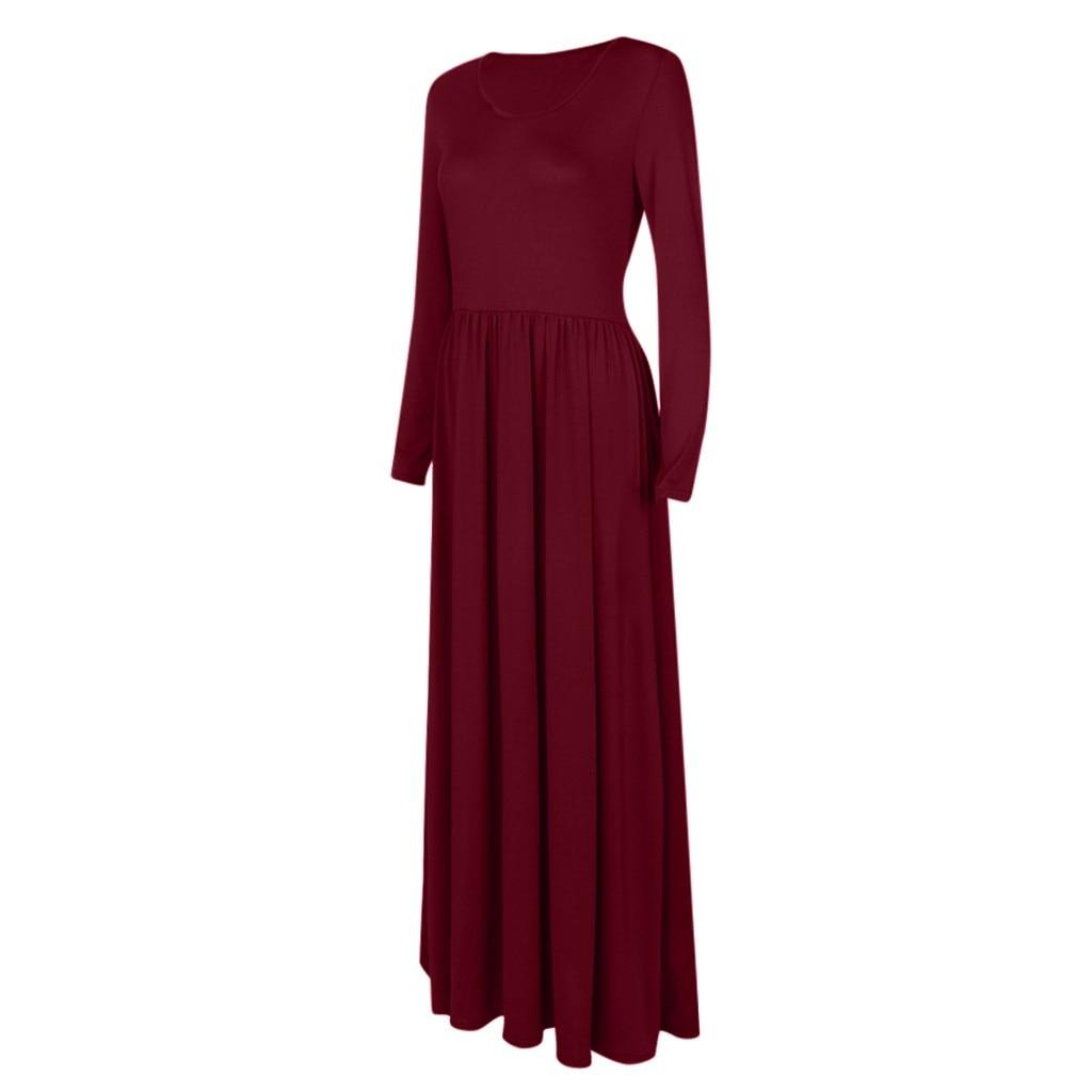 Autumn Winter Dress Women Casual Long Sleeve Maxi Dress Round Neck Solid Tank Party Long Dress