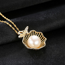 Pure Silver Clavicle S925 Necklace Natural Freshwater Pearl Electroplated 18K Gold Wholesale Jewelry
