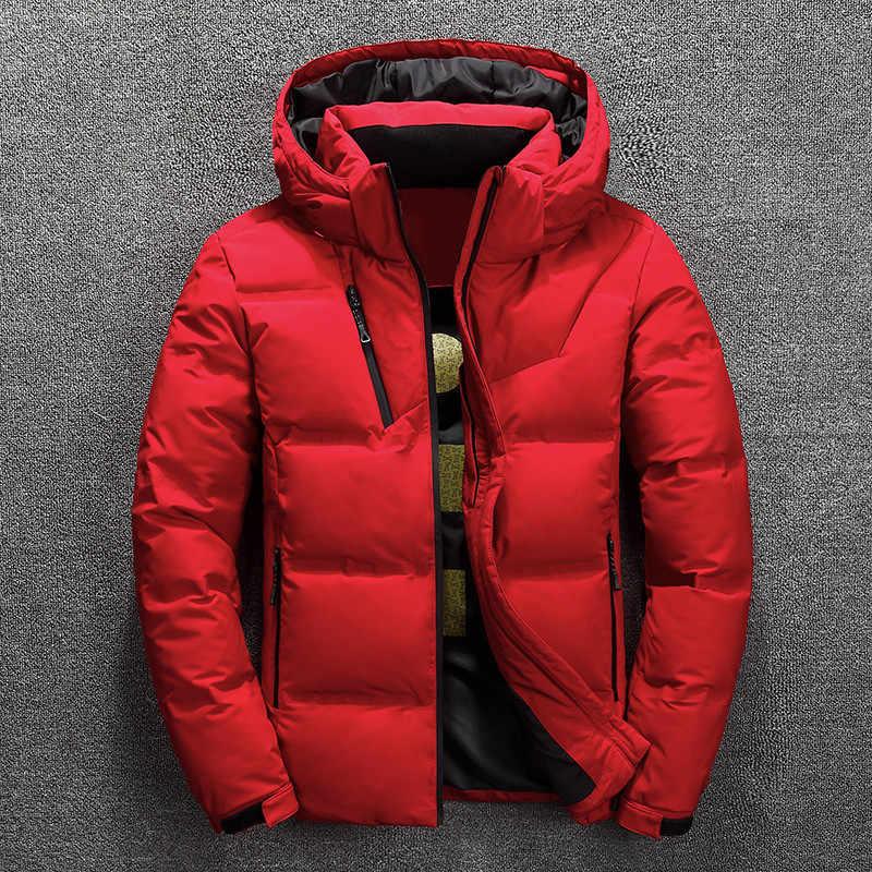 アヒルダウンジャケット男性暖かい厚手の品質ジッパーフード付きダウンコート男性オーバーコートジャケット冬男性ダウンジャケット