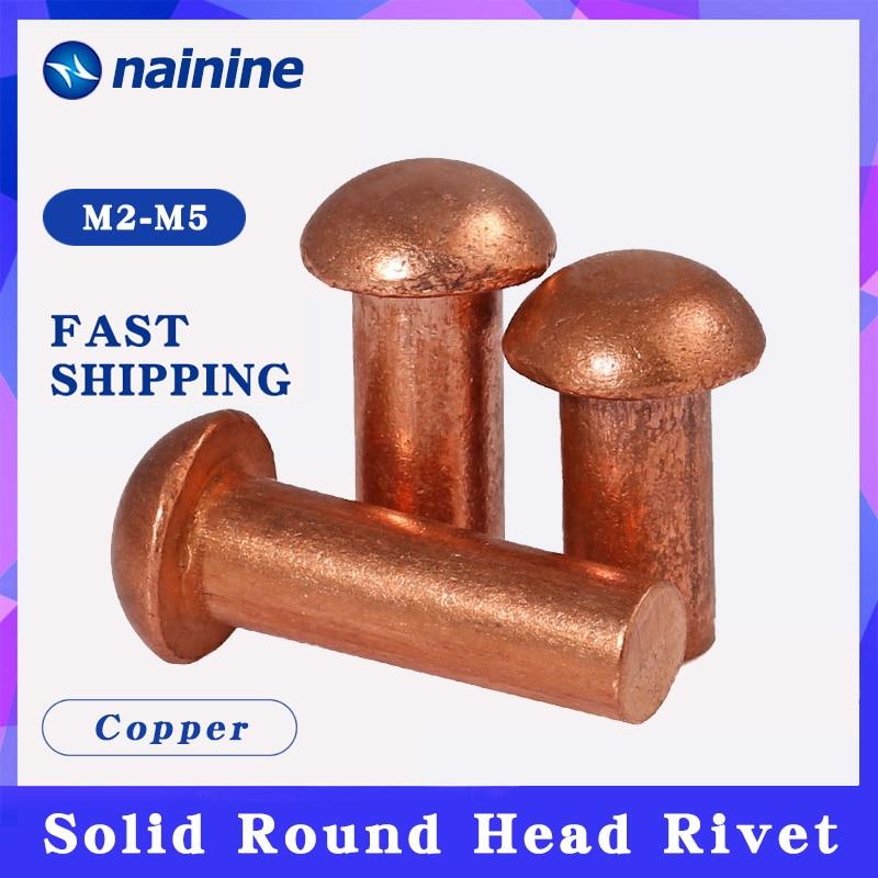 20/50Pcs M2 M2.5 M3 M4 GB867 Copper Solid Round Head Rivet Alloy Self-plugging Rivet HW206