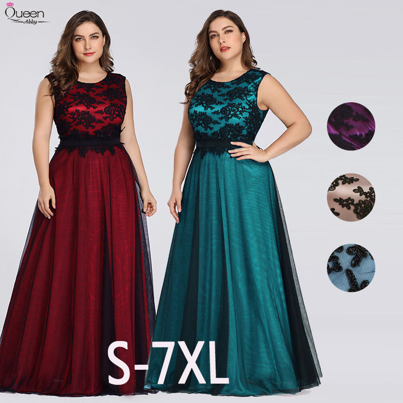 Plus Size Appliques Evening Dresses Long Queen Abby A-line Scoop Sleeveless Lace Formal Wedding Guest Gowns Party Abendkleider