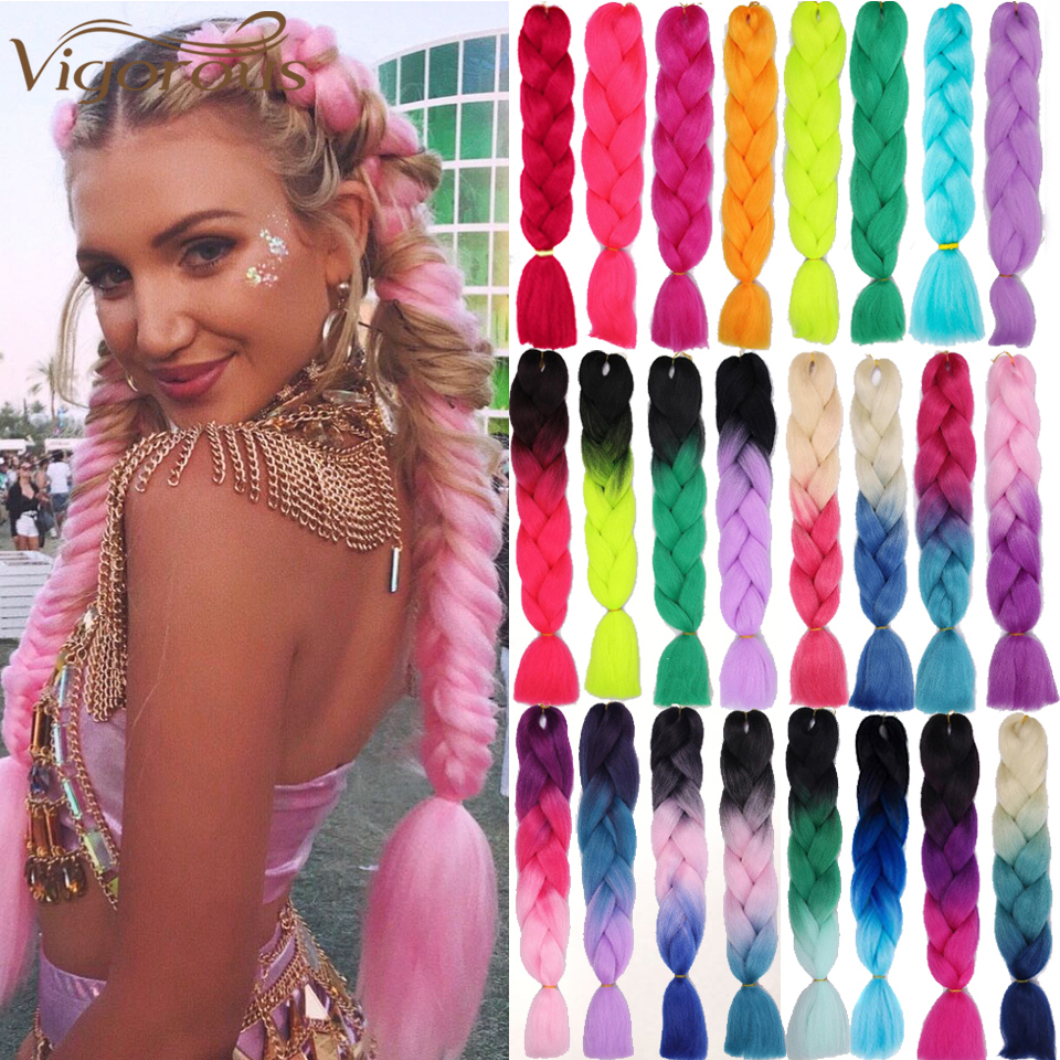 Vigorous Jumbo Braid Hair Ombre Crochet Braiding Synthetic Hair Extensions Yaki Braiding Hair Blond Red Pink