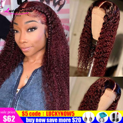 250 Density Deep Curly Lace Front Human Hair Wigs For Black Women Pre Plucked Brazilian Remy Burgundy 99J Colored Lace Front Wig
