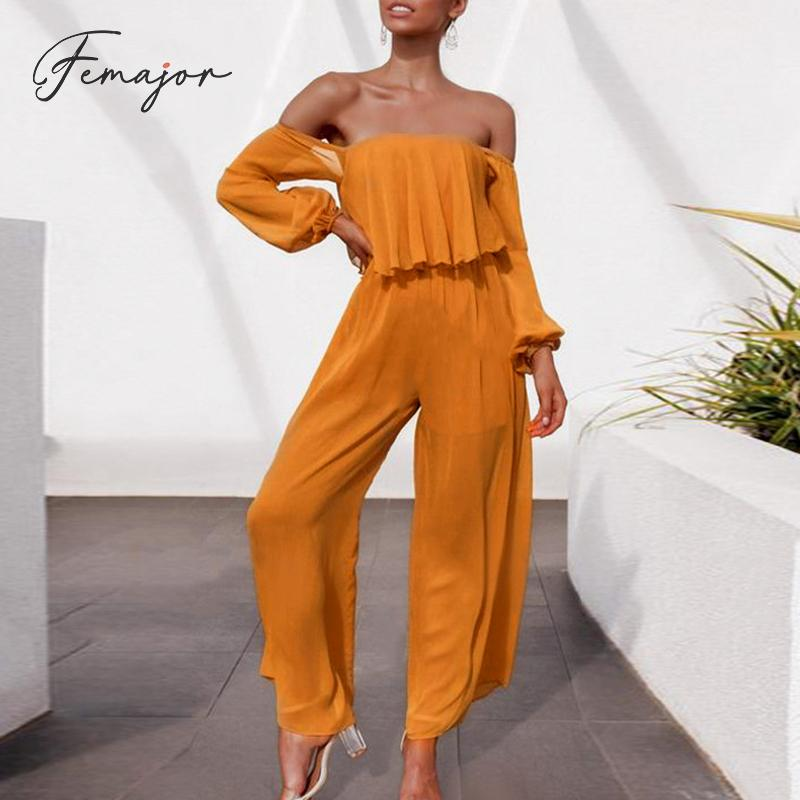 Femajor Women Fashion Tube Top High Waist Jumpsuit Female Ruffle Wide Leg White Long Rompers Chic Long Sleeve Chiffon Jumpsuit