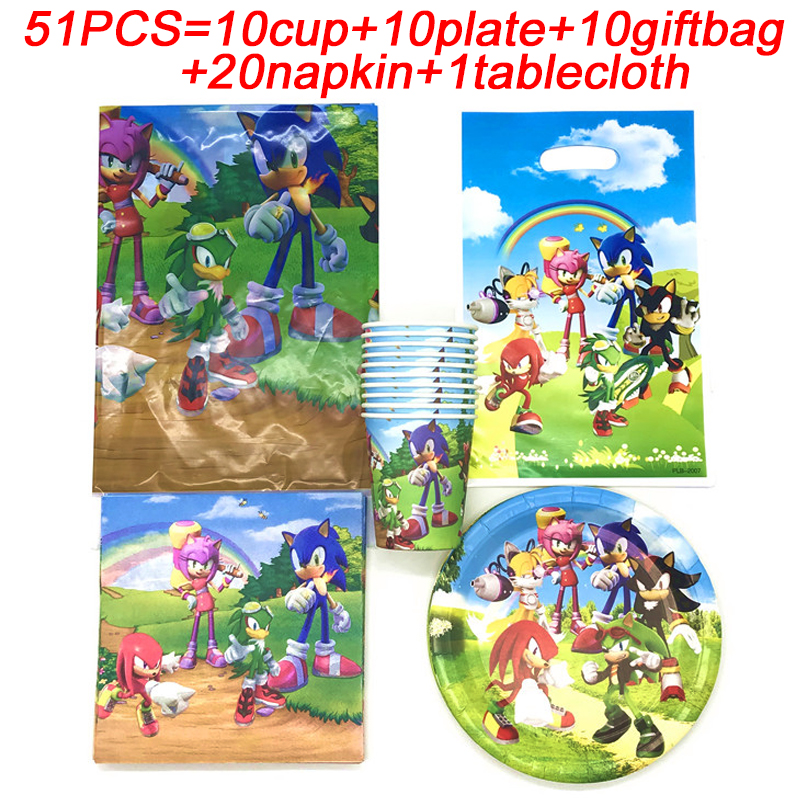 Sonic The Hedgehog Party Decoration Kids Banners Sonic The Hedgehog Birthday Party Supplies Cups Plates Tablecloth Sonic Napkins Disposable Party Tableware Aliexpress