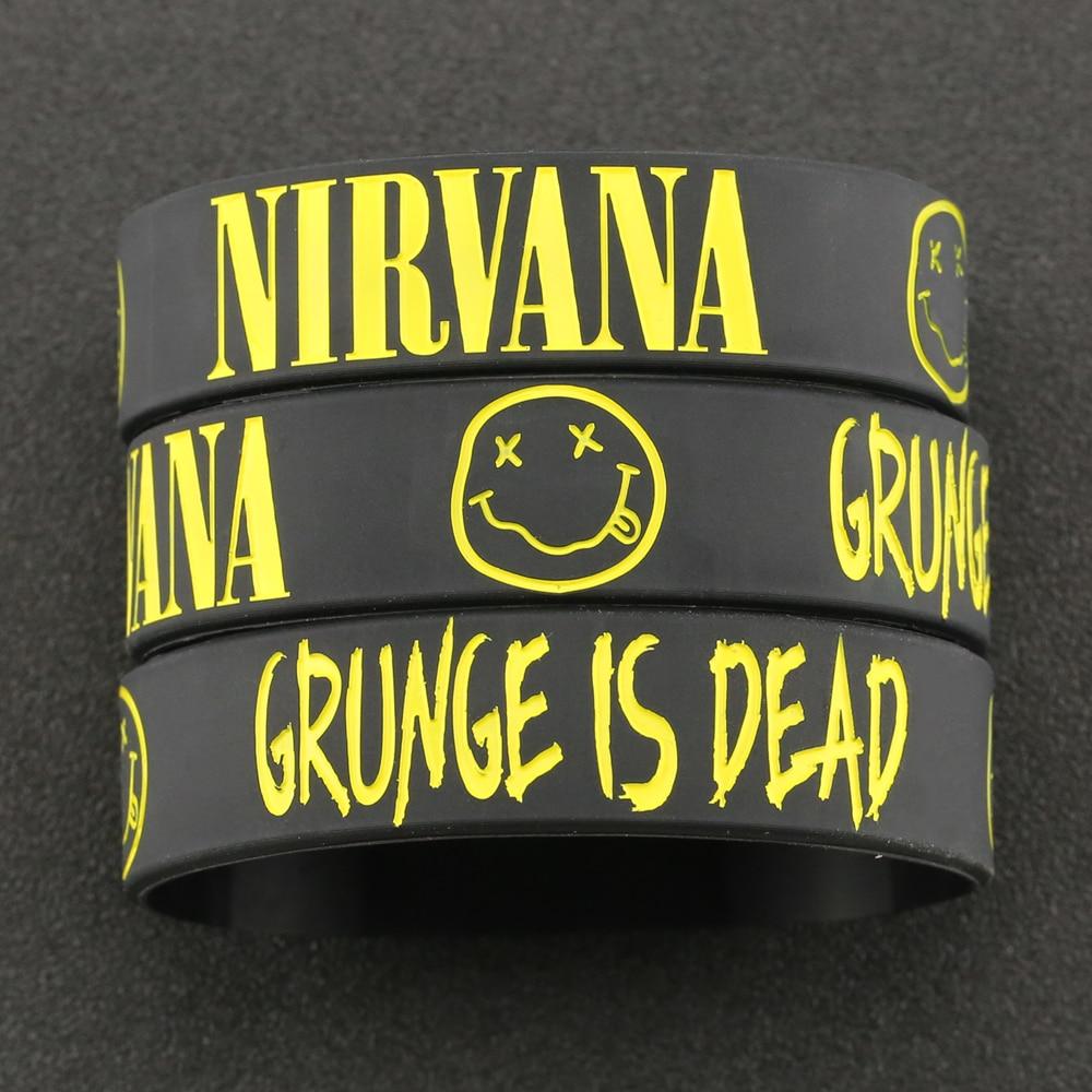 Nirvana Bracelet Kurt Donald Cobain Rock Band Hip Hop Bangle Silicone Wristband Engraved Smile Face Grunge Jewelry Men Wholesale