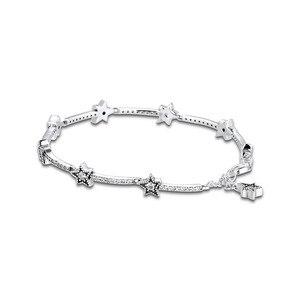 Image 1 - Celestial Stars Bracelet Clear CZ 925 Sterling Silver Bracelets Jewelry Female Fashion Chain Bracelets for Women Winter Jewelry