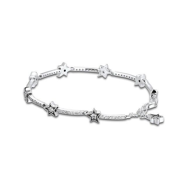 Celestial Stars Bracelet Clear CZ 925 Sterling Silver Bracelets Jewelry Female Fashion Chain Bracelets for Women Winter Jewelry