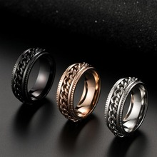 Titanium Steel Black Rotating Chain Ring Punk Style Personality Mens Jewelry