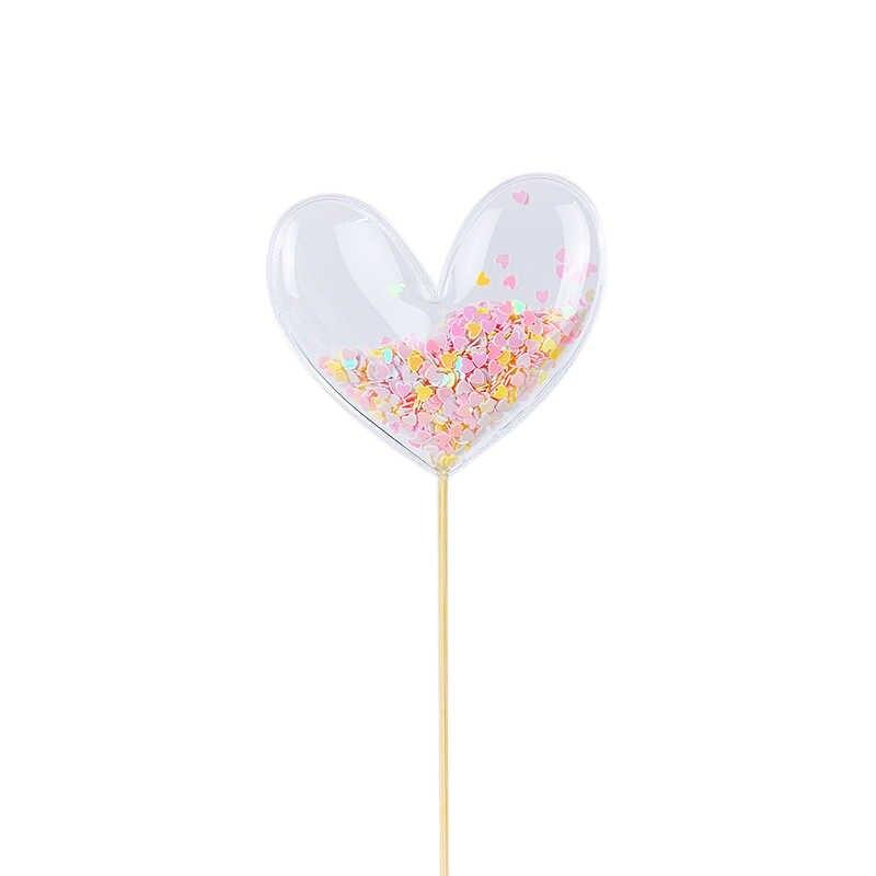 3Pcs Paetês Transparentes Topper Do Bolo Do Chuveiro Do Bebê Topo de Bolo de Aniversário DIY Bandeiras Decoração de Coco Do Queque Fontes Do Partido Da Sereia