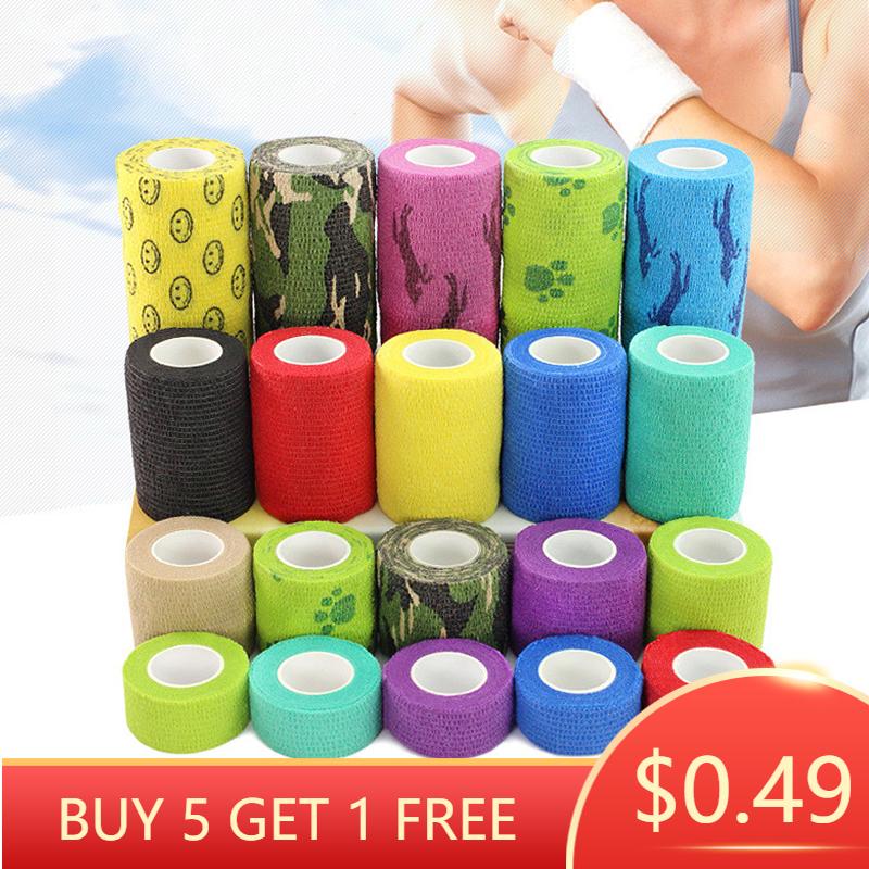 BUY 5 GET 1 FREE   1pc Sports Self Adhesive Bandage Vet Wraps Tape Finger Joints Medical First Aid Kit Pet Elastic Bandage