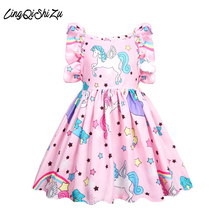 Summer Baby girl clothes unicorn dress for Girls Halloween costume girls birthday Party Vestidos 36004