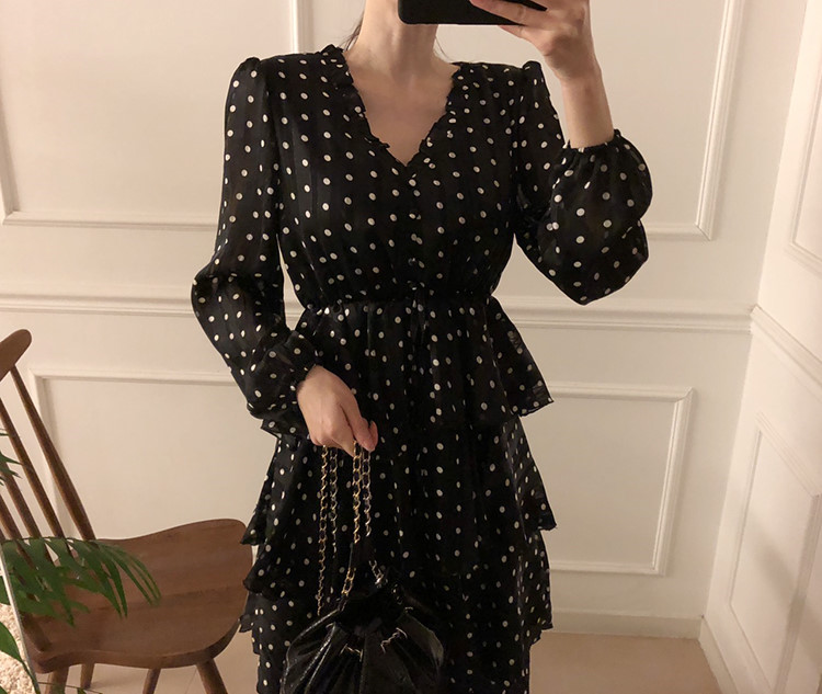 Hf83e8b6cd27a43d891c85b942d50f1ebG - Autumn V-Neck Long Sleeves Satin Polka Dots Multi-Layers Midi Dress