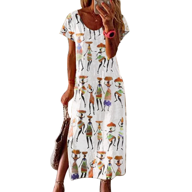 African Tribal Prined Short-sleeved Dress Casual Loose Ladies Plus Size Long Dress 2020 Summer Women's Maxi Dress S-3XL