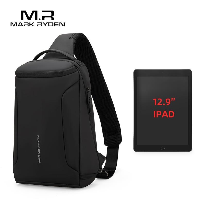 2019 New Men Crossbody Bag Fits 12.5inch IPad Shoulder Messenger Bags Male Waterproof USB Recharging Sling Bag