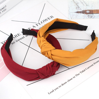 Solid Color Knot Headbands for Women Simple Fabric Girls Hairband Hair Accessories Wide Side Band - discount item  40% OFF Headwear