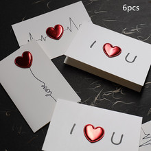 6pcs  Three-dimensional Heart-shaped Greeting Card Birthday Valentines Day Thanksgiving Message Small