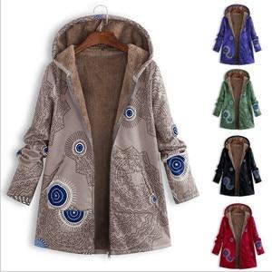 Женское меховое теплое зимнее пальто размера плюс, женские парки с капюшоном, длинное пальто с цветочным принтом, хлопковая зимняя куртка