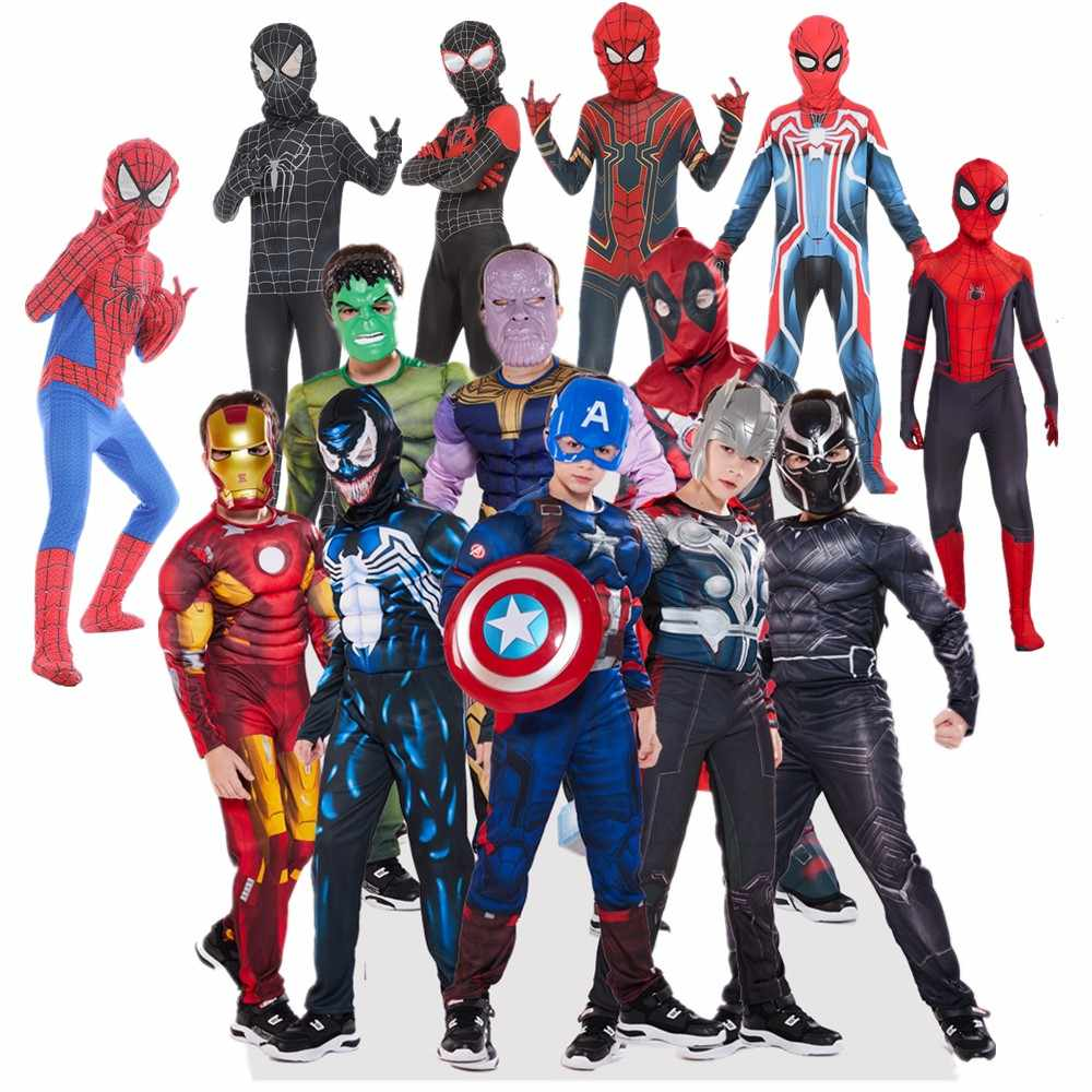 The Avengers Kids Superhero spiderman Captain America iron man panther Thor Cosplay Costume jumpsuits Halloween Costume for Kids