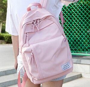 Image 1 - Mochila de nailon a la moda para mujeres, Mochilas escolares para adolescentes, mochila para estudiantes de estilo pijo, mochila femenina, Mochilas femeninas