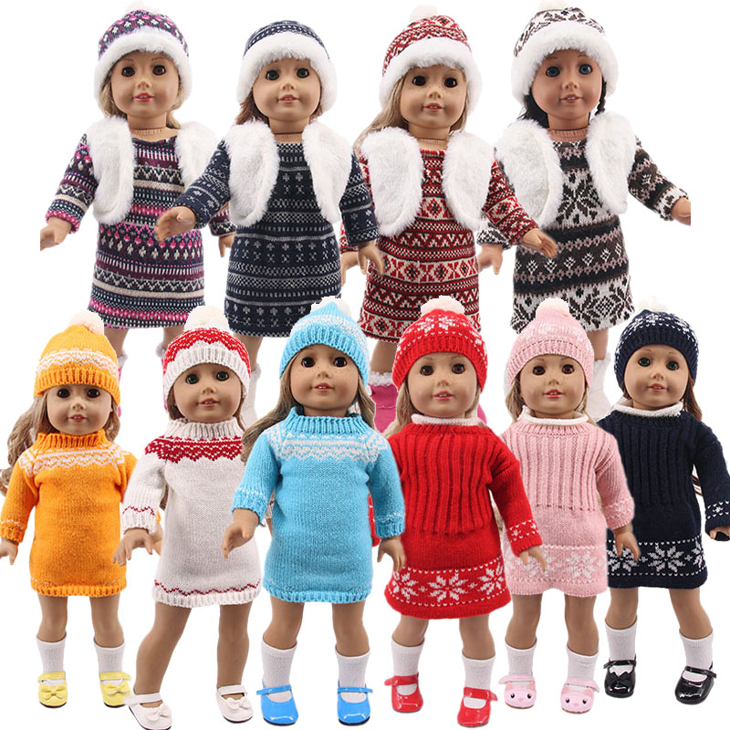 LUCKDOLL New Winter Sweater Dress Fit 18 Inch American 43cm Baby Doll Clothes Accessories,Girls Toys,Generation,Birthday Gift