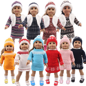 LUCKDOLL New Winter Sweater Dress Fit 18 Inch American 43cm Baby Doll Clothes Accessories,Girls Toys,Generation,Birthday Gift(China)