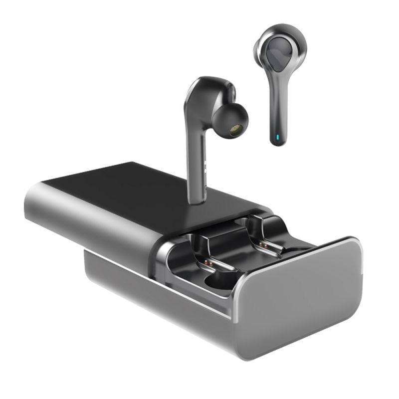 Беспроводной стерео наушники черный, белый цвет Bluetooth 5,0 наушники интеллигентая(ый) Шум Снижение Мини Размеры наушники с зарядный чехол HD - Цвет: Черный