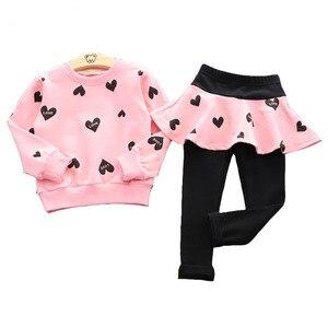 Одежда для маленьких девочек; Детская осенне-зимняя футболка + штаны; Рождественская одежда; Одежда с принтом для девочек; Спортивный костюм...