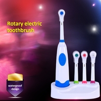 Rotation Battery Electric Toothbrush 4 Pieces Replacement Soft Brush Head Rotating Teeth Electric Brush For Family Oral Hygiene