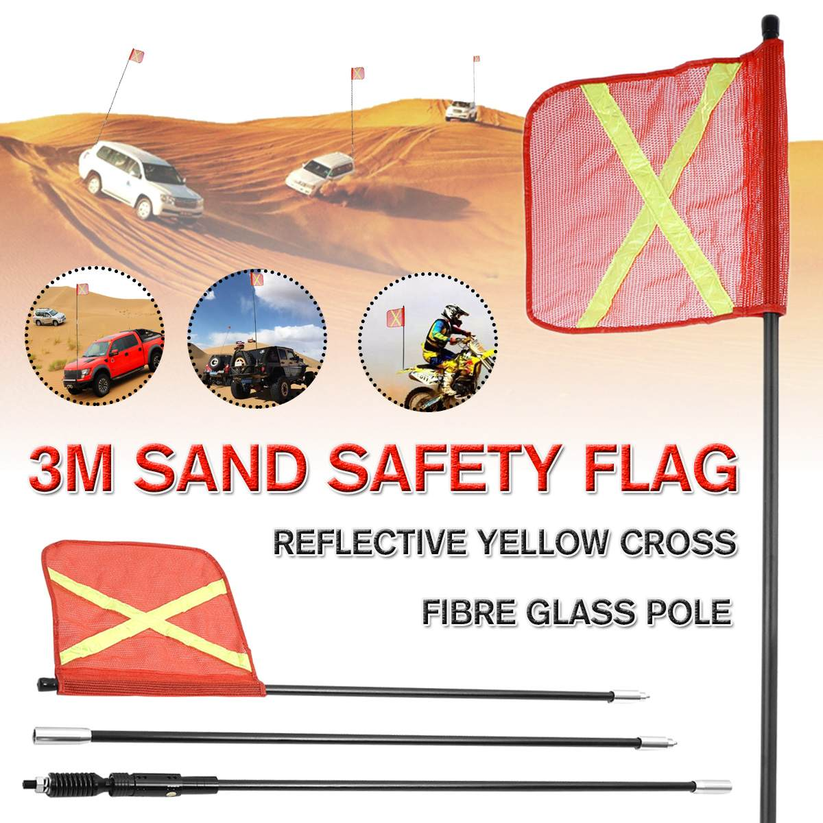 300cm Vehicle Warning Safety Flag Kit Sand Flag For Simpson Desert Mining Safety Flag For ATV Truck For Jeep For Sand Rails