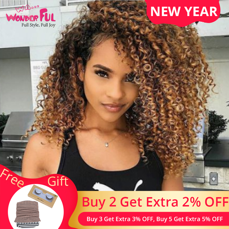 Brazilian Remy Jerry Curly Hair Omber Blonde Wig Machine Made Non Lace Short Human Hair Wigs For Women 10-14 Inch Color 1B/4/27