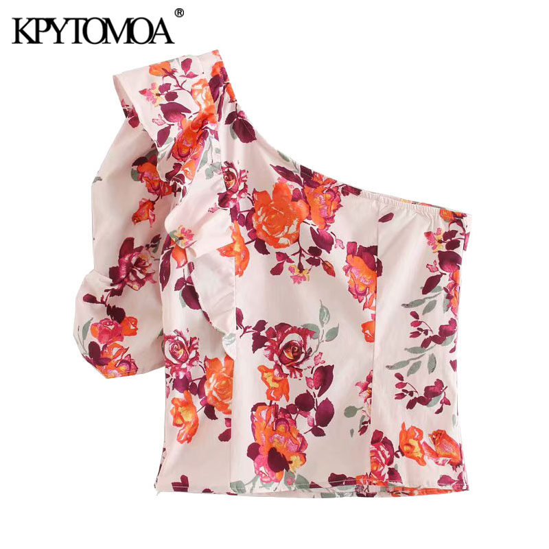 KPYTOMOA Women 2020 Fashion Floral Print Ruffled Cropped Blouses Vintage Asymmetric Neck Side Zipper Female Shirts Chic Tops